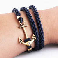 Cheap Wholesale,4 Style Men Jewelry Navy Wind DIY Anchor Bracelet Weave Multilayer Bracelet For Women Cuir Bouton Pression Gold Plated Tom Hope