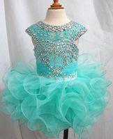 Wholesale Luxurious New Little Girls Glitz Beaded Pageant Cupcake Dresses Infant Mini Short Skirts Toddler Tutu Girl Ruffles Dresses