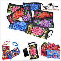 Wholesale Chinese ethnic embroidery Women s handmade long purse wallet Card package Coin package Embroidered wallet embroidered bag package