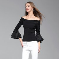 Wholesale 2016 New Style Women Flare Sleeve Black Slash Neck Sexy Knitted Lady Fashion Top