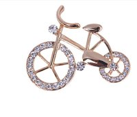 bicycle brooch - 12Pcs Fashion Brooches Pins For Party Jewelry Gifts Lovely Crystal Bicycle Brooch For Women Gold Plated