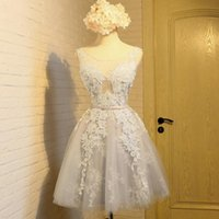 Wholesale Pink Gray Short Lace Scoop Neck Prom Dresses New Arrive Exquisite Appliques Tulle Back Lace Up Evening Party Dress