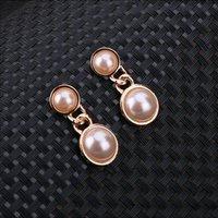 Wholesale Earrings Fashion Jewelry metal hot earring for women love Retro copper alloy k Imitation pearls White pendan wholesalet gift Charm