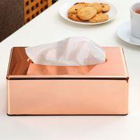 Wholesale New Elegant Royal Rose Gold Car Home Rectangle Shaped Tissue Case Box Container Towel Napkin Tissue Box Holder