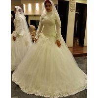 beach turkey - Plus Size Turkey Robe High Neck Long Sleeve Muslim Wedding Dresses Cheap Ghana Bridal Gowns Lace Bride Dresses Charming