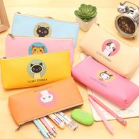 Wholesale Creative Happy Cats Family PU Leather Waterproof Pencil Case Stationery Storage Bag School Office Supply Escolar Papelaria