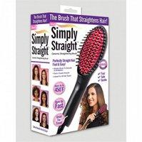 Wholesale Tv simply straight ceramic electric degital control antiscaled brush fast hair straightener brush comb irons Escova Alisadora
