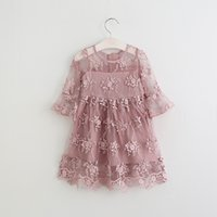 Wholesale Baby Girls Lace tutu Dresses Kids Girl Princess Floral Dress Girl Spring Party Dress Babies children s clothing