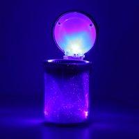 Wholesale Portable Travel Colorful LED Light Cylinder Cigarette Ashtray Holder Cup Set Kit