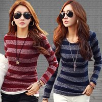 achat en gros de shirt rayé korean-Femmes coréennes Lady Girls Casual Mode à manches longues col rond Striped Knit T-shirt Tops Tees Vêtements 2812