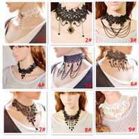 Wholesale Vintage Handmade Women Chokers Necklaces Fashion Black Lace Flower Charms Statement Necklaces Jewelry Accessory Hot Selling N3139