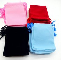 Wholesale 4 Colors Soft Velvet Jewelry Pouches Rings Necklace Earrings Stud Bracelets Bangle Gift Drawstrings Packaging Bags x7cm x9cm x12cm
