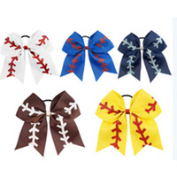 Wholesale 7 quot Large Softball Team Baseball Cheer Bows Handmade Yellow Ribbon and Red Glitter Stiches with Ponytail Hair Holders for Cheerleading Girls