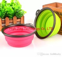 Wholesale Foldable Collapsible Pet Dog Silicone Travel Bowl Dog Feeder Dod Dishes Non Toxic Colors for your choose