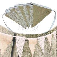 Bannière vintage-de grosse bonneterie de tissu de hessen Cordon de jute de corde de jute Cordon de dentelle de photobooth