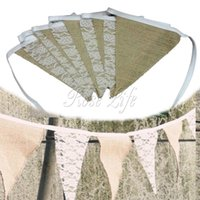 Wholesale Vintage Banner Hessian Fabric Bunting Burlap Cord Jute Rope Photobooth Lace Flag