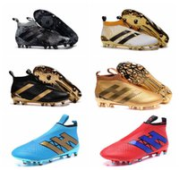 Wholesale 2016 New Black kids ace purecontrol soccer cleats Mens gold soccer shoes men football boots High top kid aces youth boys cleats