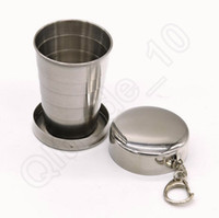 Wholesale Stainless Steel Portable Travel Foldable Collapsible Cup ML Camping Folding Cup Hiking Mug With Keychain OOA1186