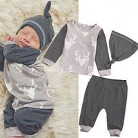 baby hats uk - Christmas Newborn Baby Boys Girls Sleepsuit Cotton Long Sleeves Tops Pants Hat Xmas Outifts Set UK M