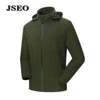 Wholesale JSEO Men Waterproof Breathable Rain Jacket Front Zip Hooded Raincoat Softshell Precip Jacket Venture Jacket Sportswear