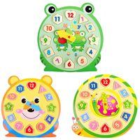 Venta al por mayor-3D Puzzle Juguetes de madera Juguetes educativos de los niños con el patrón de dibujos animados Digital Geometría Reloj Bebé Chica Regalo VBF76 T30