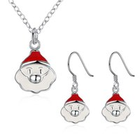 Wholesale Santa Claus Necklace Ring set Advanced Material Style Women Men Love Most Gift