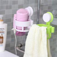 Wholesale Multi function Bathroom Hair Dryer Holder Wall Mounted Rack Space Plastic Shelf Storage Organizer Hairdryer Holder