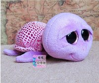 Wholesale Stuffed Turtles Big Eyes - Wholesale-New Stuffed Animal Ty Big Eyes Purple Turtle 15cm Original TY Plush Toys Lovely Tortoise Doll Kids Christmas Birthday Gifts