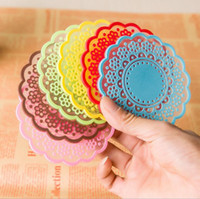 Wholesale Hotsale Kitchen Accessories Candy Color Cute Semi transparent Lace SiliconeTable Mats Drink Coasters Coffee Cup Plate Bowl Pad Placemats