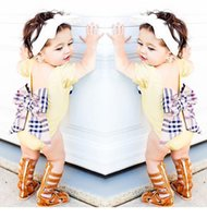 big onesie - 2017 New Kids Clothes Baby Rompers With Big Bow Newborn Girls Infant Clothes Long Short Sleeve Jumpsuits Cotton Bebes Girls Princess Onesie