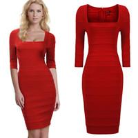 bag cocktail dresses - 2016 new red bag hip skirt sleeve bandage dress top wedding party dress