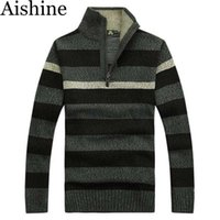 Pullover acrylic computer stand - SMT43 New MenS Brand Sweater Men Striped Knitwear Autumn Winter Casual Thick Stand Collar Warm Brand Wool Pullover Sweater