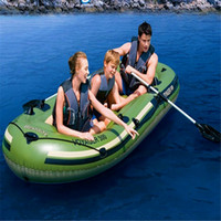 Wholesale 3 person inflatable fishing boat x142cm made from mm pvc with aluminiumm paddles and foot pump