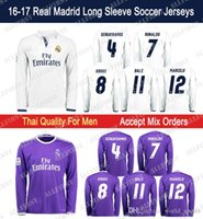 Wholesale 2016 Thai Quality Real Madrid Long Sleeve Soccer Jerseys Men RONALDO JAMES BALE RAMOS ISCO MODRIC KROOS PEPE Home Away Soccer Jersey