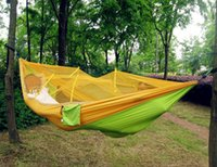 Wholesale Double Hammock With Mosquito Net Camping Survival Mosquito Net Hammock Parachute Cloth Portable HAMMOCK CM