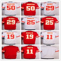 Chiefs al por mayor 11 Jersey de <b>Alex Smith</b> 19 Jeremy Maclin 25 Jamaal Charles Jerseys Uniformes blancos rojos 29 Eric Berry 50 Justin Houston 72 Eric