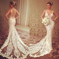 Wholesale 2016 Berta Lace Applique Mermaid Wedding Dresse Sheer Jewel Neckline Beading Bridal Dress Button Covered Court Train Wedding Gowns