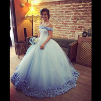 Wholesale Light Sky Blue Ball Gown Wedding Dresses Summer Off Shoulder With Handmade Flowers Tulle Puffy Bridal Gowns Custom Made Vestidos