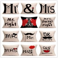 Wholesale Hot sale styles Decoration Decorative MR MRS printed pillowcase red pillow case cover square cm new