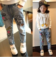 Wholesale spring children baby slim trousers water wash doodle fashion cartoon patterns denim pants Girls Jeans casual skinny jeans Children s cloth