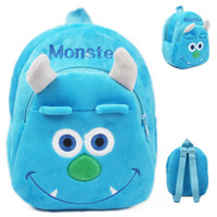 Wholesale Kawaii Children Plush Backpack Blue Monster Cartoon Plush Backpack Baby Rucksack for Kindergarten Kids Baby Backpacks