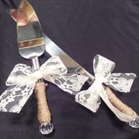 Wholesale Rustic Wedding Shabby Chic Wedding Cake Knife Cake Server Set Personalized Cake Serving Knife