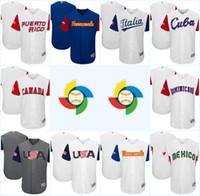 Men baseball canada - 2017 World Baseball Classic Jersey America USA Canada Cuba Dominicana Ltalia Mexico Puerto Rico Venesuela Size Customized Baseball WBC