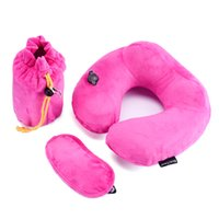 Wholesale On Promotion BEAUTRIP Brand imbedded Pump Inflatable Travel Pillow Soft Velvet Travelling Neck Pillows on Airplane Train car bus