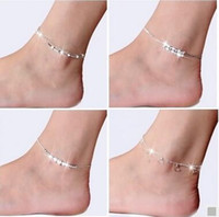 Wholesale Fashion Sterling Silver Anklets For Women Ladies Girls Unique Nice Sexy Simple Beads Silver Chain Anklet Ankle Foot Jewelry Gift Free Sh