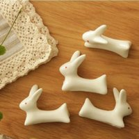 Wholesale Japanese Ceramic Ware Rabbit Chopsticks Rest Rack Porcelain Spoon Fork Home Decor New