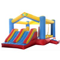 Wholesale Dual Slide Bounce House Inflatable Jump Bouncer Moonwalk Climbing Obstacle Course
