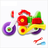 Wholesale Baby Educational Toy Super Cute Motorcycle Nut Toy Children Building Blocks With Tools Kids Birthday Gifts