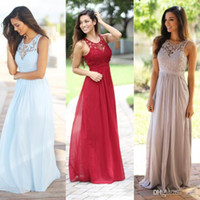 beach wedding dresses for guests - Gray Burgundy Lace Country Bridesmaid Dresses for Wedding Jewel Open Back Chiffon Formal Cheap Beach Maid of Honor Wedding Guest Dress