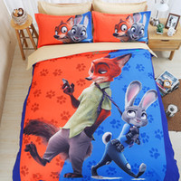 3D Printed animal print sheet - 3D Zootopia Bedding Set PC Duvet Cover Set Sanding Quilt Cover Flat Sheet Pillowcase Twin Full Queen King Size